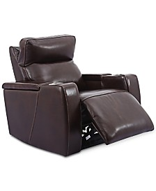 Oaklyn Leather Power Recliner With Power Headrest and USB Power Outlet