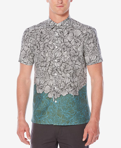 Perry Ellis Men's Classic-Fit Luau Colorblocked Floral-Print Shirt ...