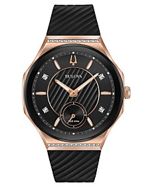 Bulova Women's Curv Diamond-Accent Black Rubber Strap Watch 41mm