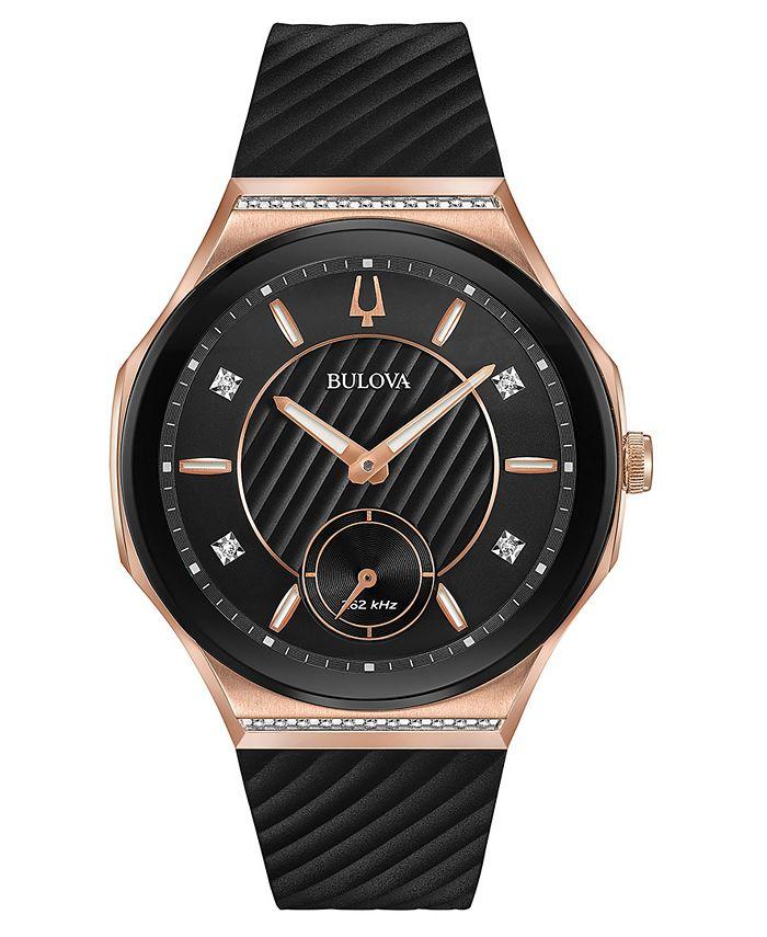 Bulova - Women's Curv Diamond-Accent Black Rubber Strap Watch 41mm
