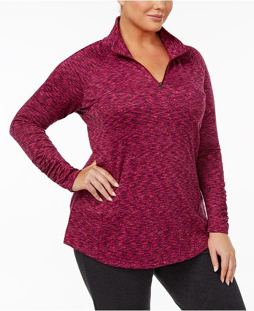 Columbia Plus Size Outerspaced Space-Dyed Half-Zip Top