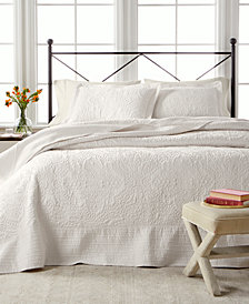 Martha Stewart Collection Lush Embroidery Queen Bedspread, Created for Macy's