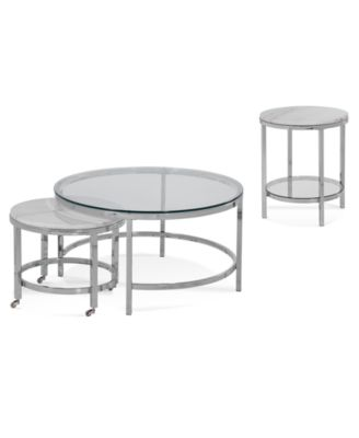 Volko Round Table Furniture Collection, 3-Pc. Set (Round Coffee Nesting Table & Round End Table)