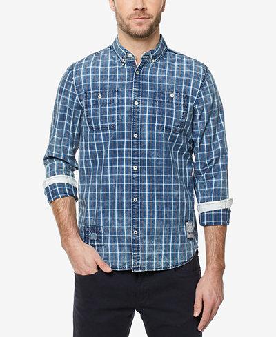 Buffalo David Bitton Men's Grid-Pattern Button-Down Shirt - Casual ...