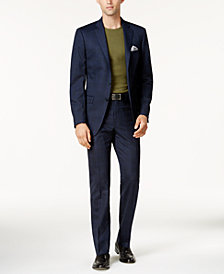 Calvin Klein Men's Slim-Fit Navy & Light Blue Windowpane Suits
