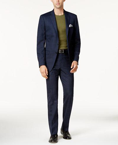 Calvin Klein Men's Slim-Fit Navy & Light Blue Windowpane Big and Tall Suit