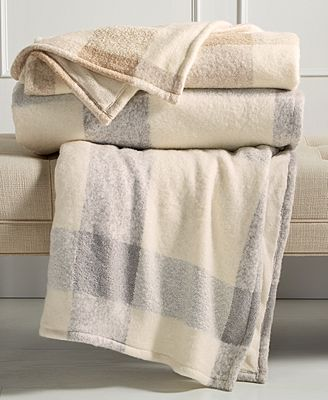 CLOSEOUT! Martha Stewart Collection Faux Mohair Tonal Check Throw, Created for Macy's