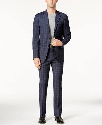 Calvin Klein Men's Slim-Fit Blue Plaid Suit