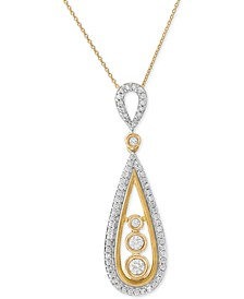 Diamond Teardrop Pendant Necklace (1/2 ct. t.w.) in 14k Gold, Created for Macy's