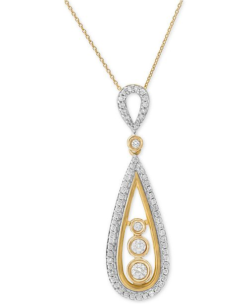 Wrapped in Love Diamond Teardrop Pendant Necklace (1/2 ct. t.w.) in 14k Gold, Created for Macy's