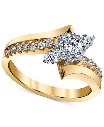 Diamond Asymmetric Engagement Ring (5/8 ct. t.w.) in 14k Gold and White Gold