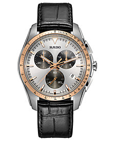 Rado Men's Swiss Chronograph HyperChrome Black Leather Strap Watch 45mm