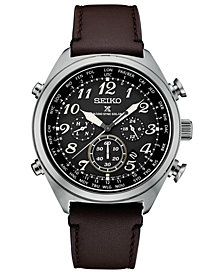 Seiko Men's Solar Chronograph Prospex Brown Leather Strap Watch 44mm