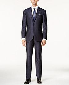 Kenneth Cole Reaction Men's Techni-Cole Slim-Fit Blue Textured Micro-Grid Suit