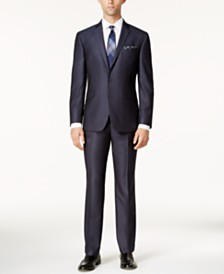 Kenneth Cole Reaction Men's Techni-Cole Slim-Fit Blue Textured Micro-Grid Suit