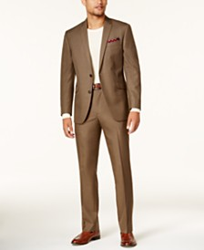 Kenneth Cole Reaction Men's Slim-Fit Brown Sharkskin Techni-Cole Suit