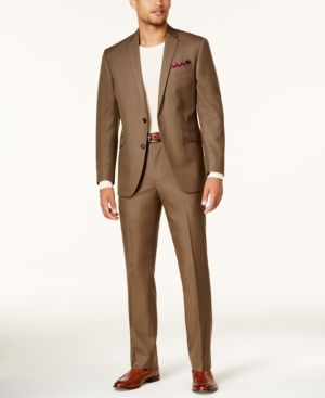 Kenneth Cole Reaction Men's Slim-Fit Brown Sharkskin Techni-Cole Suit thumbnail