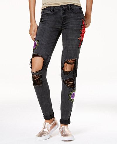 Rewash Juniors' Rose-Patch Ripped Classic Skinny Jeans