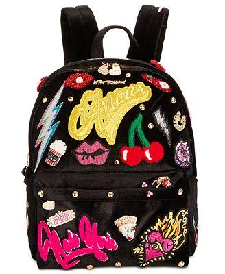 Betsey Johnson Patch Velvet Medium Backpack
