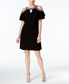 MSK Embellished Cold-Shoulder Keyhole Dress