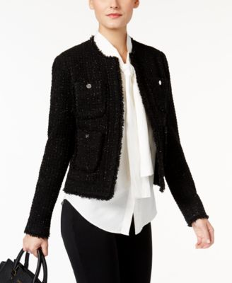 Black tweed blazer womens