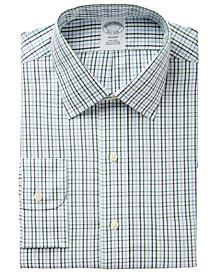 Brooks Brothers Men's Regent Slim-Fit Non-Iron Green Tattersall Dress Shirt