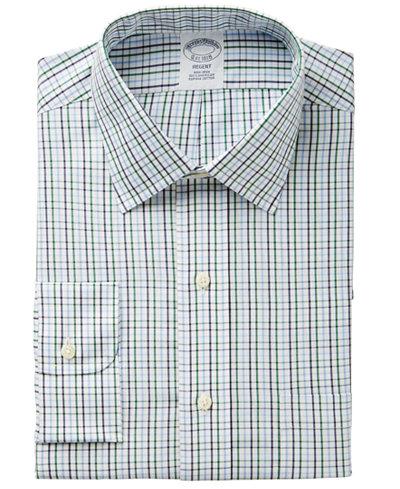 Brooks Brothers Men's Regent Regular Fit Non-Iron Green Tattersall Dress Shirt