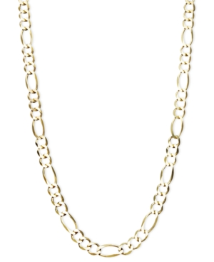 "22"" Men's Figaro Chain (6mm) Necklace in 14k Gold"
