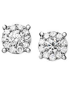 Diamond Circle Stud Earrings in 14k White Gold (1-1/4 ct. t.w.)
