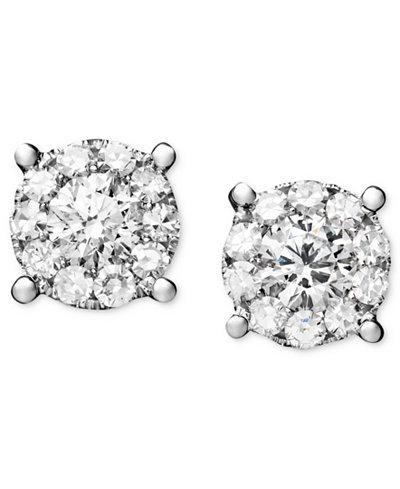 Diamond Circle Stud Earrings in 14k White Gold (1-1/4 ct. t.w.)