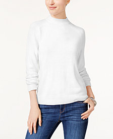 Karen Scott Petite Luxsoft Mock-Neck Sweater, Created for Macy's