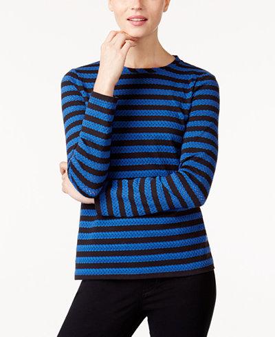 Anne Klein Striped Eyelet Top