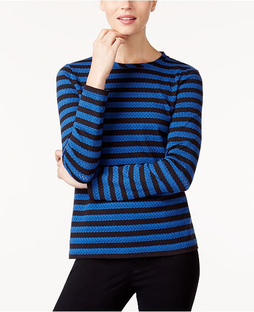 Anne Klein Striped Eyelet Top