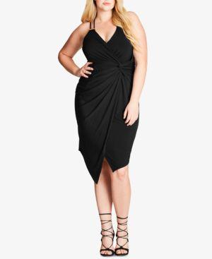 City Chic Trendy Plus Size Faux-Wrap Bodycon Dress 4615212
