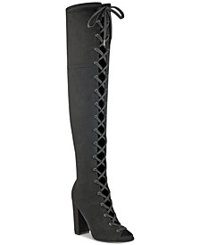 GUESS Women's Casidi Lace-Up Over-The-Knee Boots