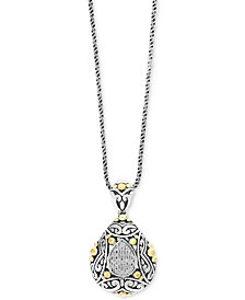 Balissima by EFFY® Diamond Two-Tone Pendant Necklace (1/10 ct. t.w.) in Sterling Silver and 18k Gold