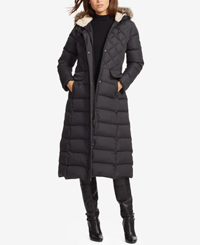 Lauren Ralph Lauren Hooded Maxi Down Jacket - Coats - Women - Macy's