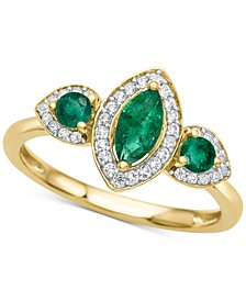 Emerald (5/8 ct. t.w.) & Diamond (1/6 ct. t.w.) Ring in 14k Gold (Also available in Sapphire and Certified Ruby)
