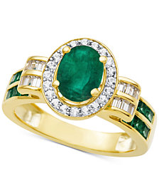 Emerald (1-1/2 ct. t.w.) & Diamond (3/8 ct. t.w.) Ring in 14k White Gold (Also Available in Ruby & Sapphire)
