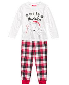Family Pajamas Boys' or Girls' Buffalo Plaid Wide Awake Pajama Set, Created for Macy's