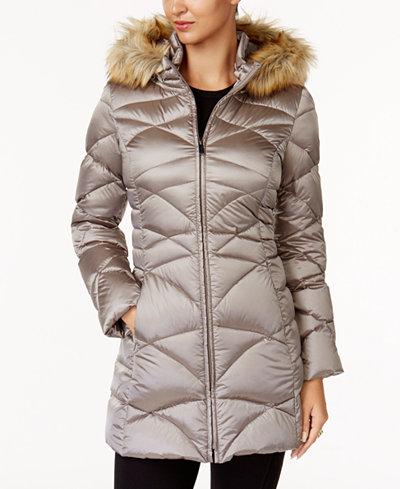 Jones New York Faux Fur Trim Quilted Down Puffer Coat