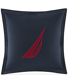 "Nautica Seaward Sailboat Twill 18"" Square Decorative Pillow"