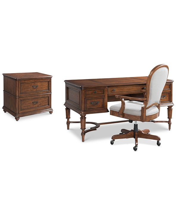 Furniture Clinton Hill Cherry Home Office Furniture, 3-Pc. Set (Writing Desk, Lateral File Cabinet & Upholstered Desk Chair)