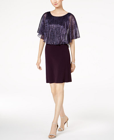 Connected Petite Metallic Cape Dress