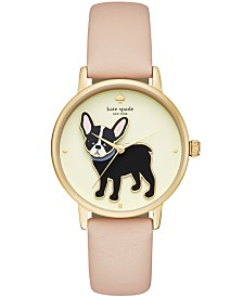 kate spade new york Women's Grand Metro Vachetta Leather Strap Watch 38mm