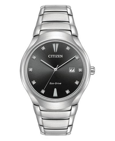 Citizen Eco-Drive Men's Diamond-Accent Silver-Tone Stainless Steel Bracelet Watch 40mm