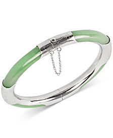 Dyed Green Jade (7mm) Bangle Bracelet in Sterling Silver