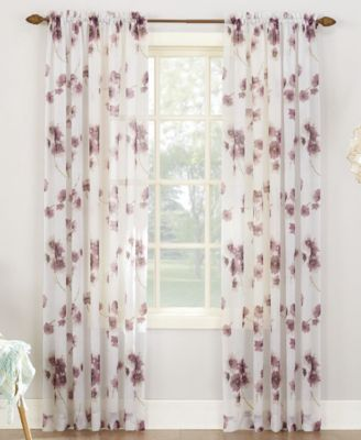 "Bimini Textured Floral Sheer Voile Curtain 51"" x 95"" Panel"