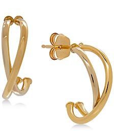 Crisscross J-Hoop Earrings in 10k White/Rose Gold, Rose Gold, White Gold or Gold, 1/2 inch