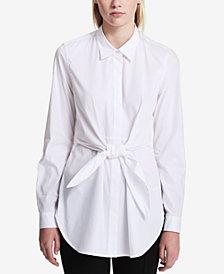 Calvin Klein Cotton Tie-Front Blouse